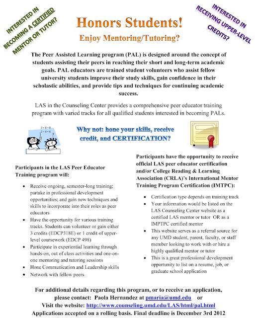 U  of Maryland Honors College: PAL Mentor/Tutor Training