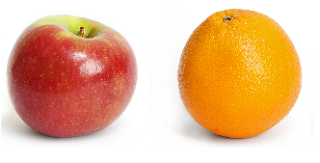 an apple and an orange