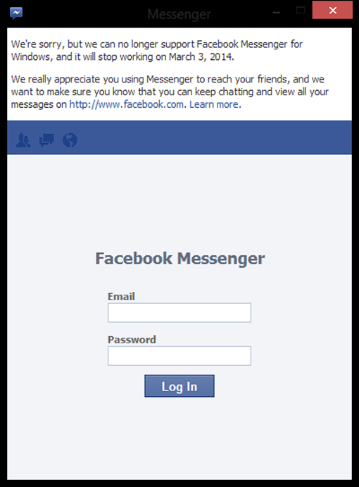 Facebook Messenger Windows Ditutup