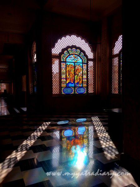 Beautiful stained glass window reflections vedic art gallery - ISKCON Jaipur, Rajasthan