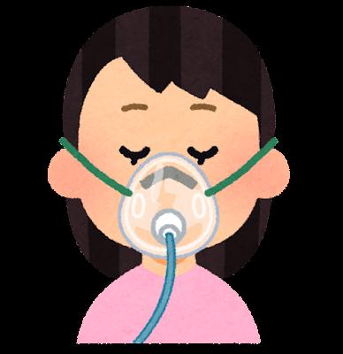 酸素マスクのイラスト(女性)