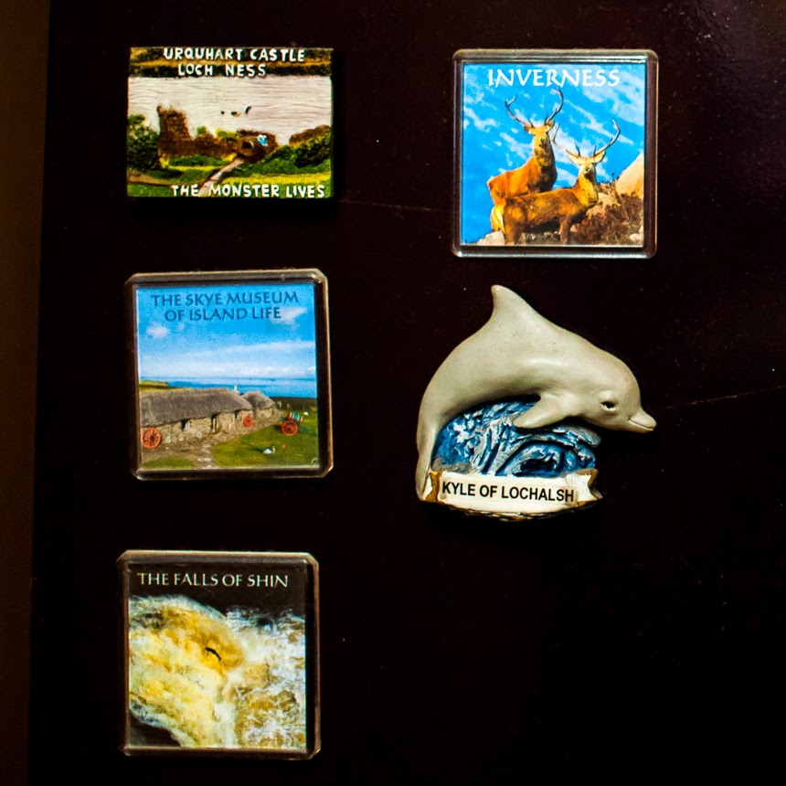 Some fridge magnets are special because they remind you of the incredible places you have visited and the amazing sights you have seen. The one on the top left corner in the photograph above is from Loch Ness, where the legendary Loch Ness Monster is supposed to live. The magnet at the bottom is from the Falls of the Shin and this is where I saw my first salmon jump.
