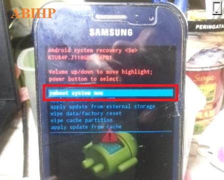 Terakhir pilih reboot system now membuat Samsung j1 ace restart.