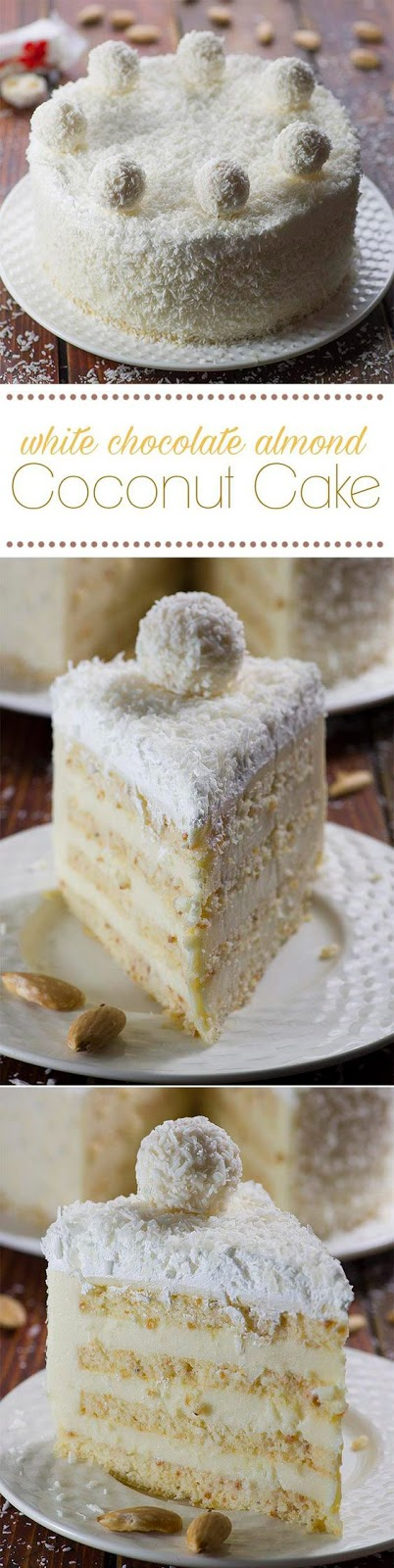 White Chocolate Almond Coconut Cake