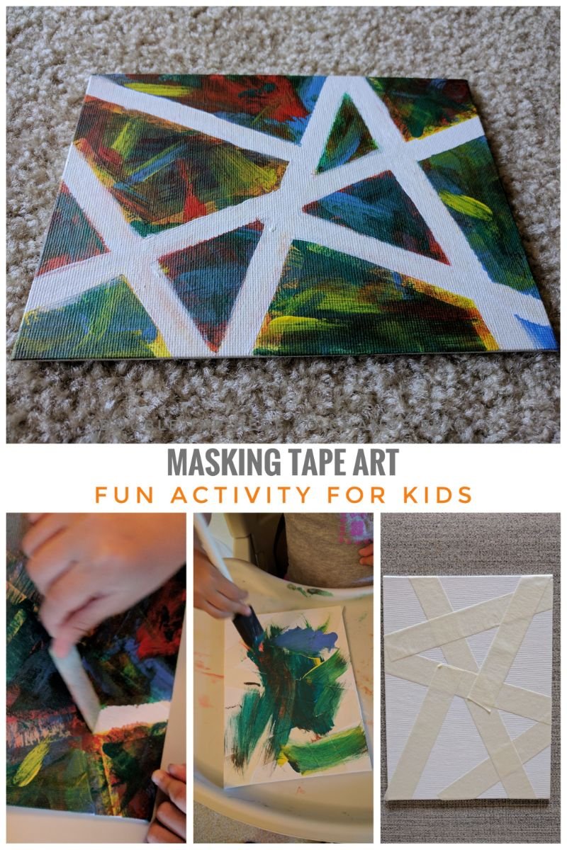 Canvas Art, Abstract Art, Kid's Art, Craft for Kids, Painting for Kids, Activity for Kids, Summer Activity, Craft for Toddler, Masking Tape