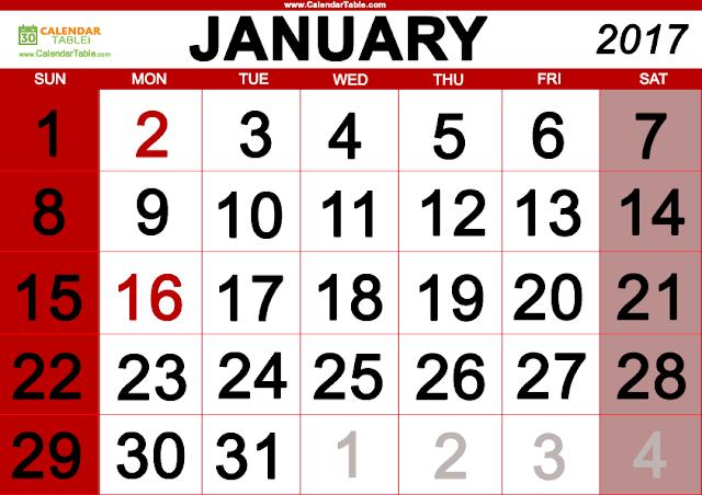 January 2017 Calenadar, January Calendar 2017, January 2017 Printable Calendar. January 2017 Calendar Printable, January 2017 Blank Calendar, january 2017 Calendar with Holiday