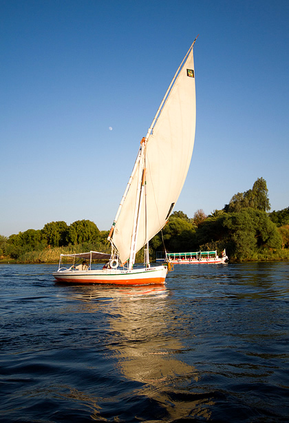 Small boat in Nile river