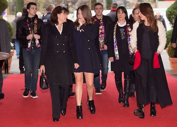 Style of Princess Stephanie, Camille Gottlieb, Pauline Ducruet. wore Valentino dress, gold diamond earrings