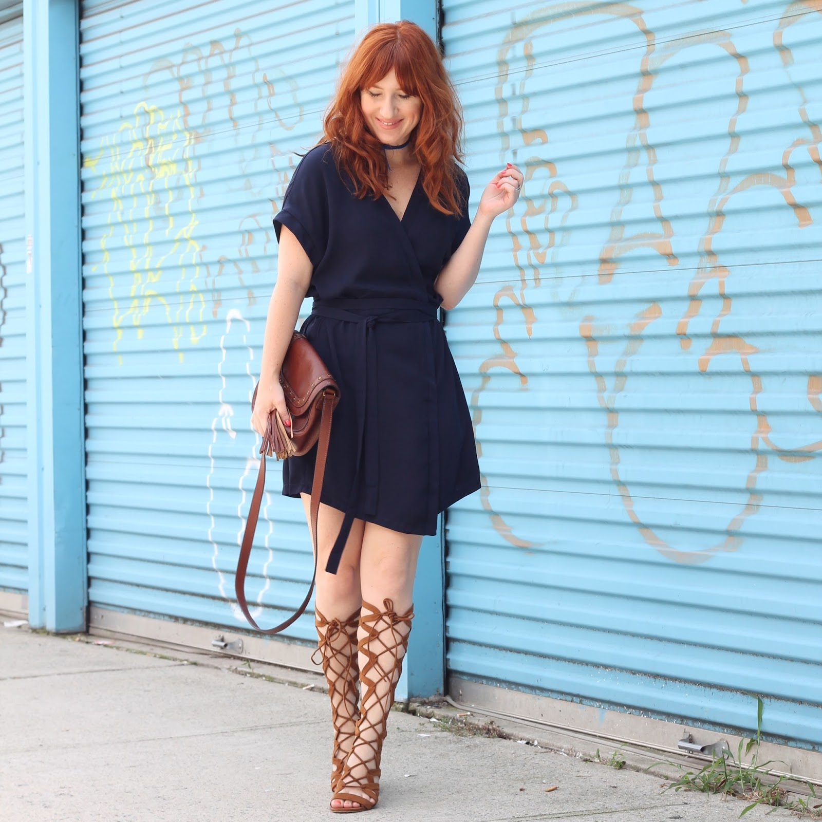 how to wear a wrap dress, summer outfit ideas, how to wear gladiator sandals, vacation outfit ideas, simple outfits