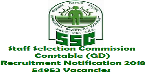 SSC Constable GD Recruitment 2018 for 54953 Vacancies