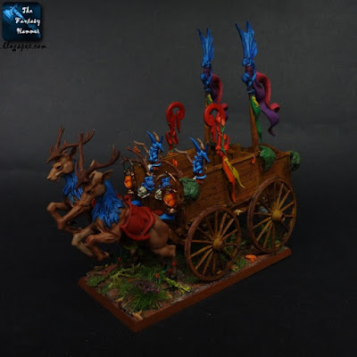 Wood Elves Athel Loren cart with Deers and Spites