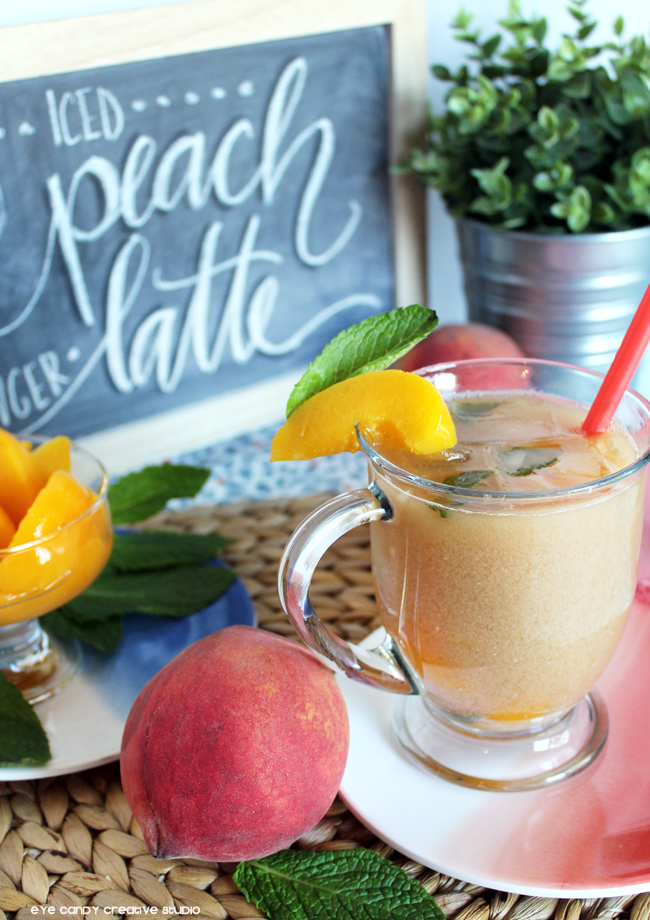 peach ginger iced tea, iced tea latte, peaches, springtime, lettering