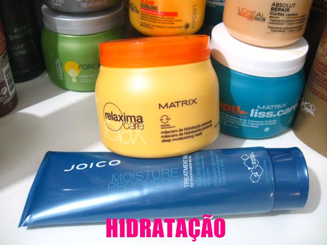 Hidratação Máscara Joico Moisture Recovery e Máscara Relaxima Care Matrix