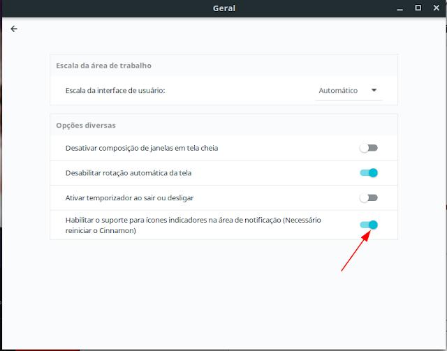 Configuração de indicadores Linux Mint