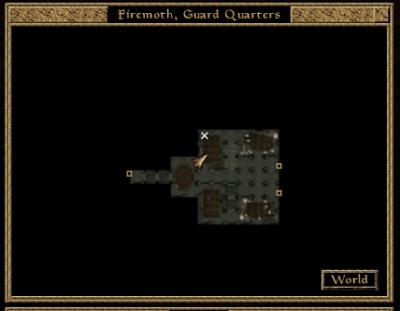 Karte im Spiel Morrowind. Zu erkennen sind drei Türen anhand eines goldenen Quadrates und ein weißes Kreuz für meinen Mark-Zauber. Der Raum an sich ist eher schlecht daraus zu erkennen.