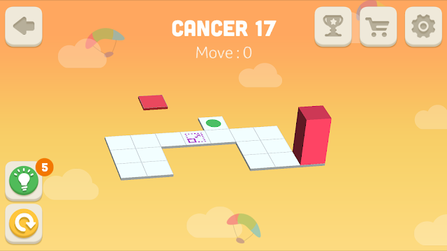 Bloxorz Cancer Level 17 step by step 3 stars Walkthrough, Cheats, Solution for android, iphone, ipad and ipod