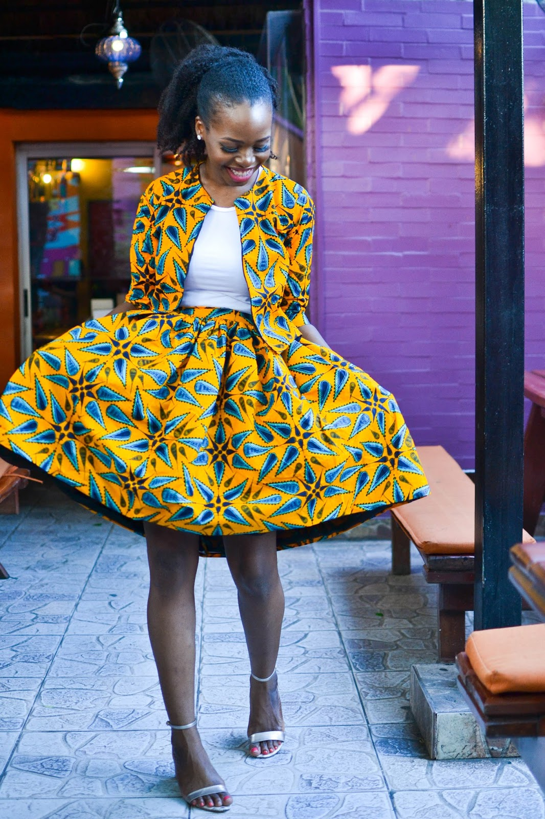Yellow Ankara Crop Jacket and Skirt