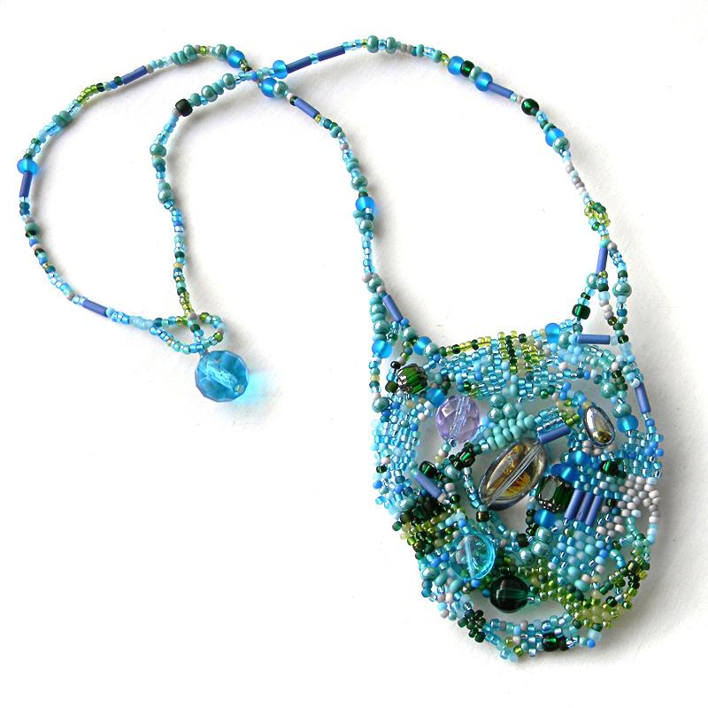 Freeform beadwork beading pendant boho jewellery