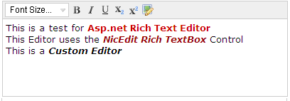 Asp Net Free Rich Text Editor using NicEdit Editor - Custom