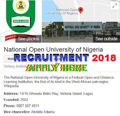 Apply For National Open University of Nigeria Recruitment 2018/2019 | NOUN Application Portal