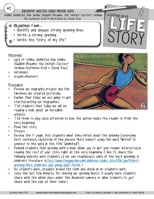 writing an autobiography middle school Unit plan: writing an autobiography set up your high school students for writing success at the beginning of a new school year by providing a variety of writing.