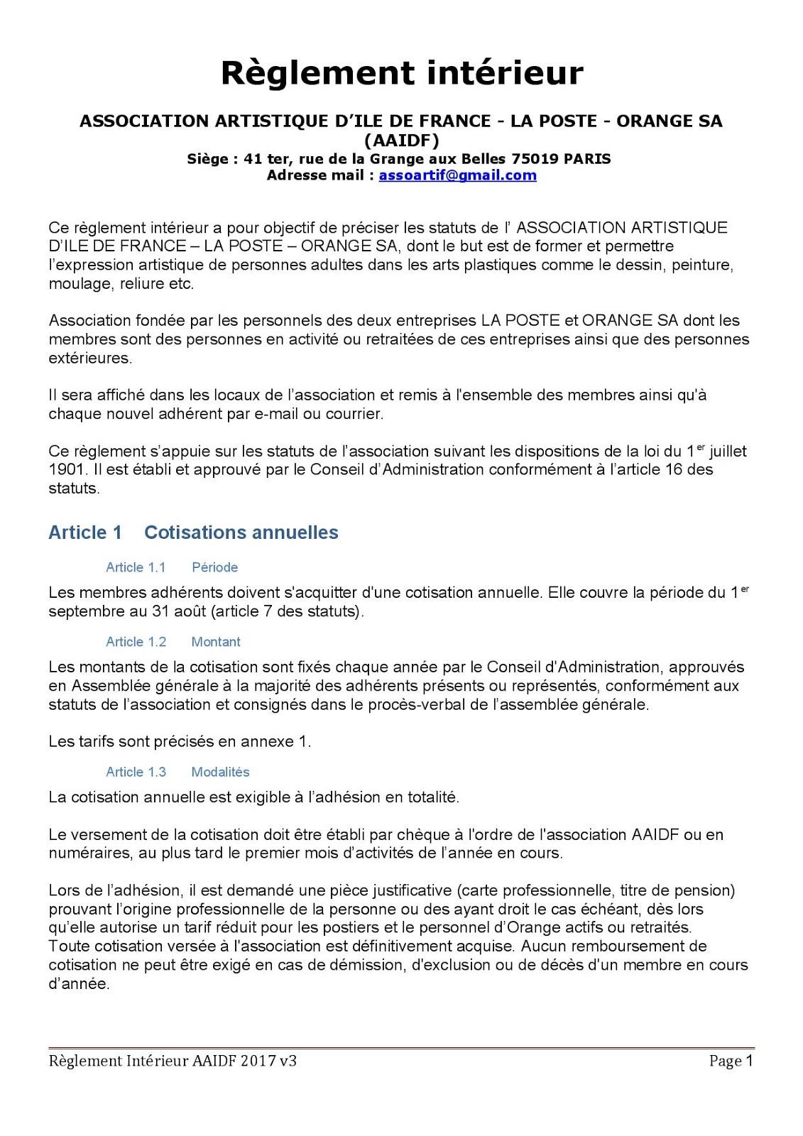 Association Artistique d'Ile de France: Le réglement intérieur