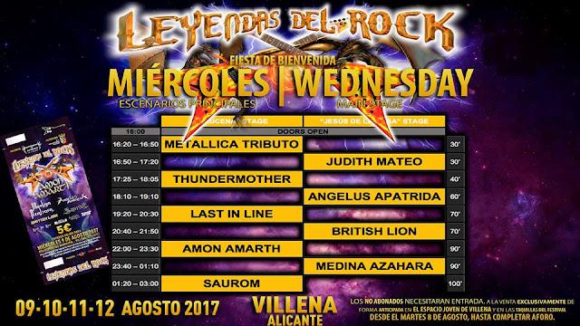 Leyendas del Rock, Horarios miercoles