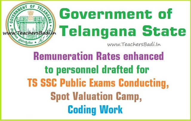 TS SSC Public Exams,Spot Valuation,New Remuneration Rates-GO.22