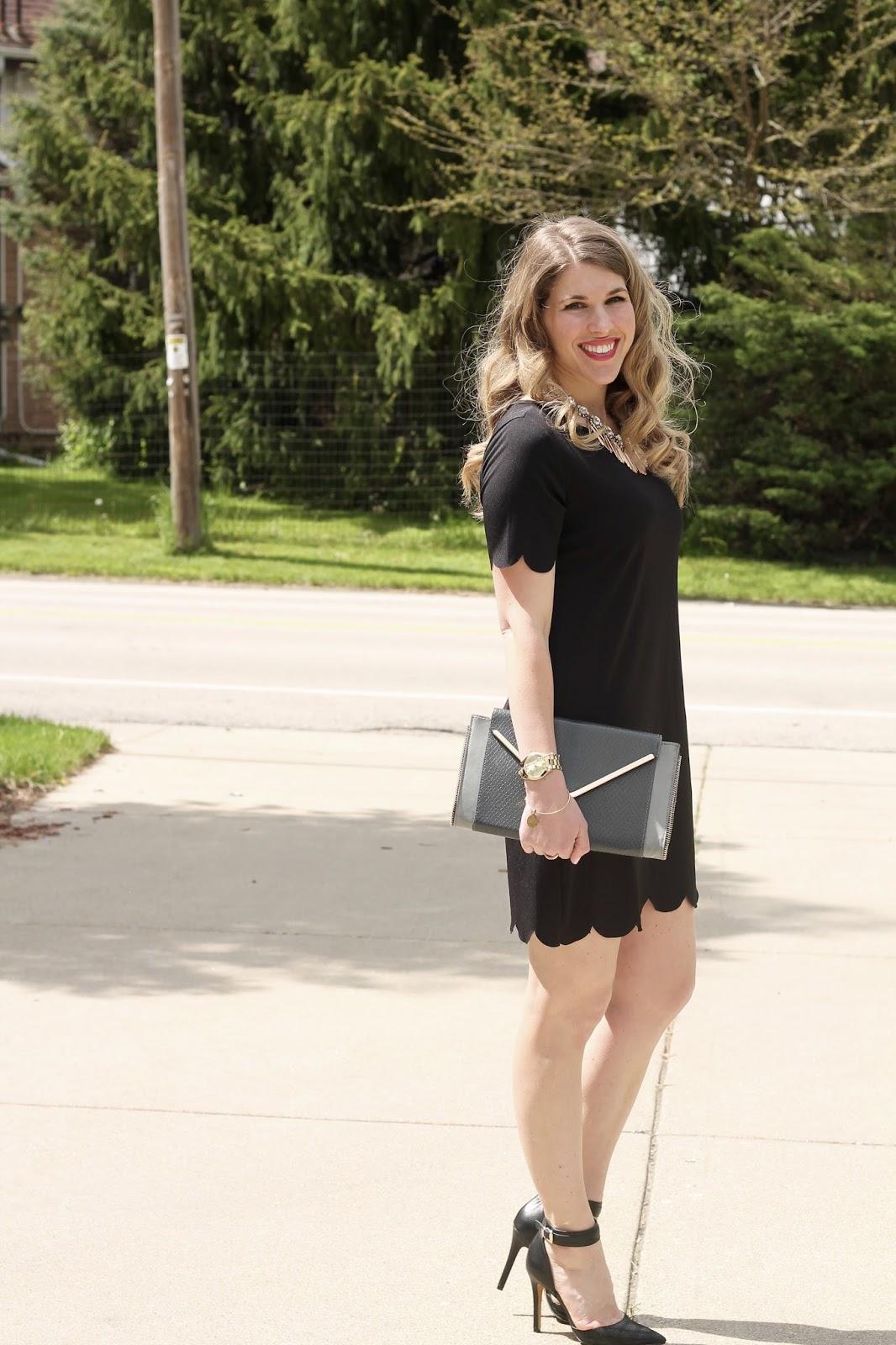 little black dress 2 ways for summer, casual little black dress, dressy little black dress, scalloped little black dress