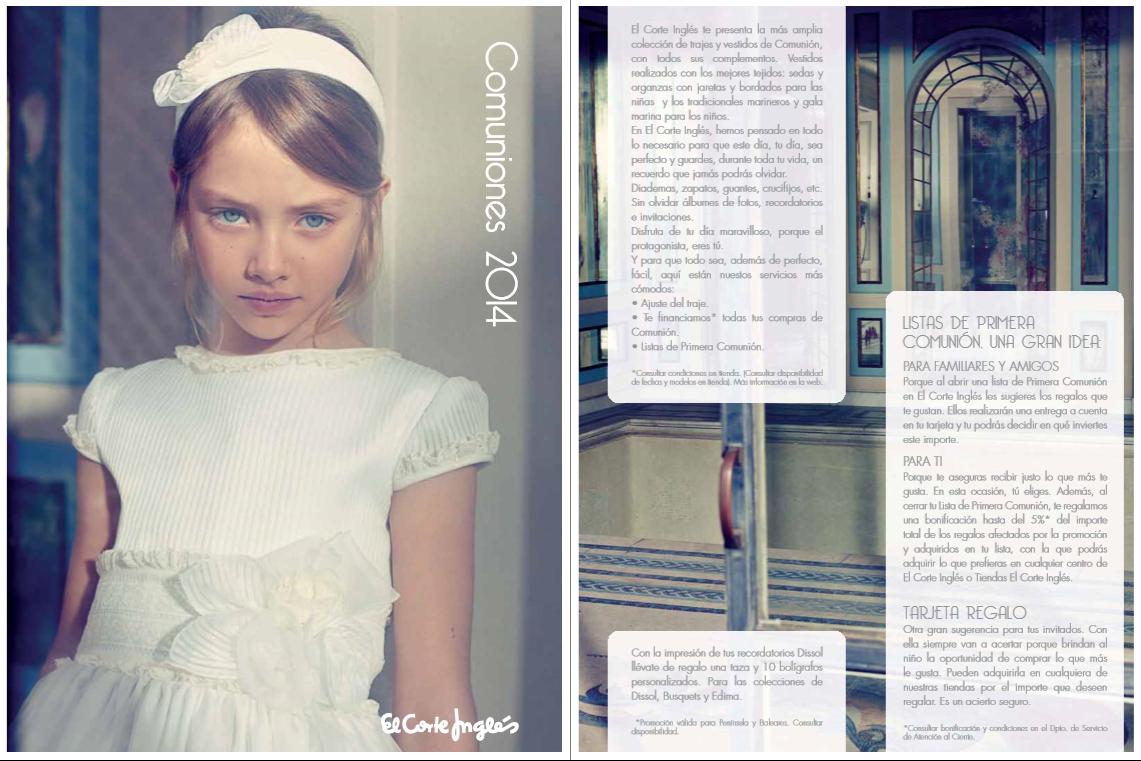 Moda Para Peques Vestidos De Primera Comunión Catálogo El Corte Inglés 2014