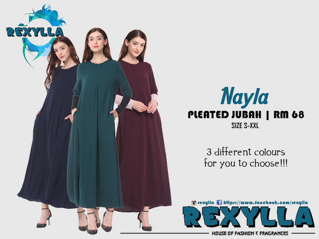 rexylla, pleated jubah, nayla collection