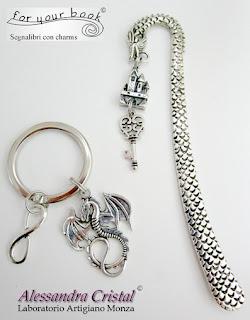 segnalibro metallo charms fantasy drago castello portachiavi