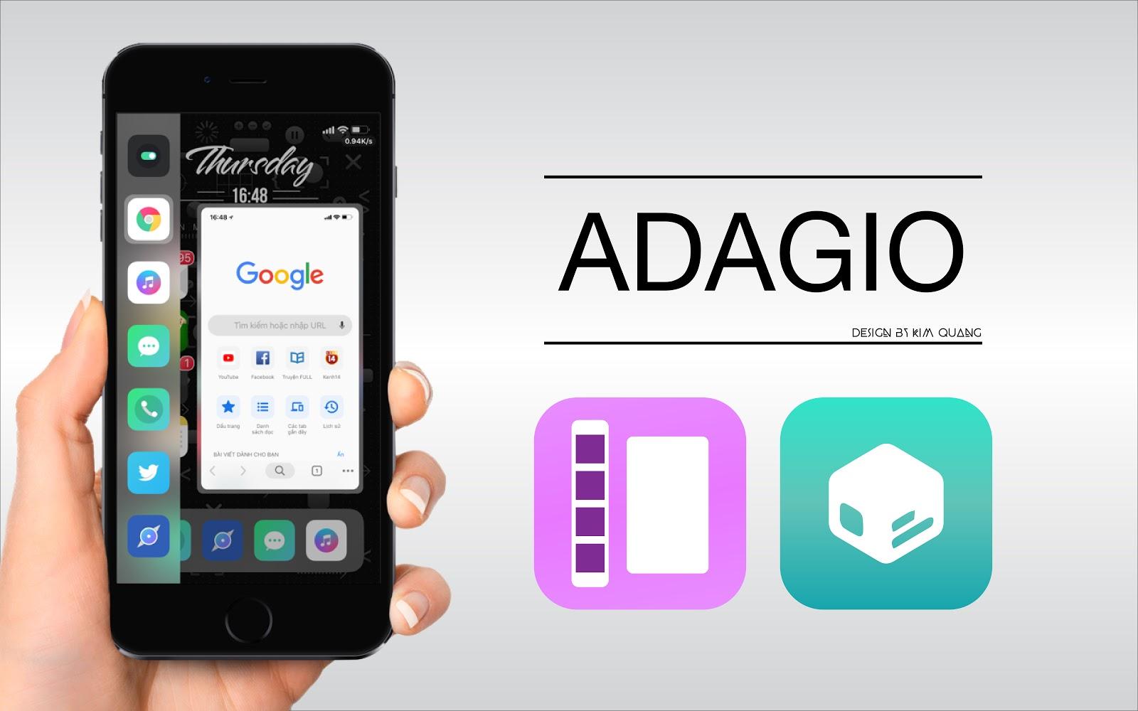 Trên giao diện của Adagio ở cột dọc nó sẽ hiển thị những ứng dụng của bạn  được sử dụng gần đây. Và Adagio hỗ cả chế độ sáng và ...