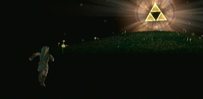 The Legend of Zelda: Twilight Princess - screenshot of Link running to the Triforce