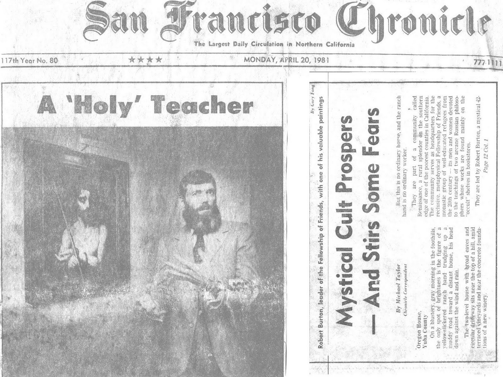 Robert Earl Burton, leader of Fellowship of Friends in Oregon House, CA, San Francisco Chronicle story