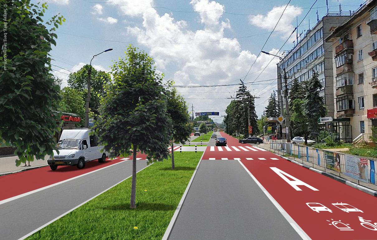 Новая дорога улицы Гагарина в Симферополе: разделительная полоса с деревьями, выделенные полосы для общественного транспорта, безопасные переходы