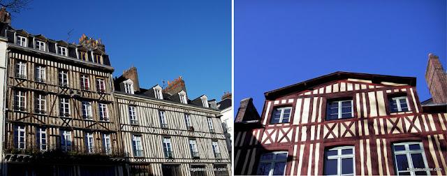 Fachadas em enxaimel em Rouen, Normandia