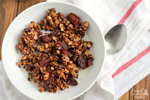 Studded with sweet dried strawberries & mini chocolate chips, this easy to make Chocolate Strawberry Skillet Granola only tastes like a decadent treat.