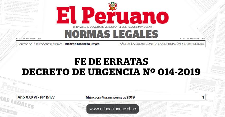 DECRETO DE URGENCIA Nº 014-2019 - FE DE ERRATAS