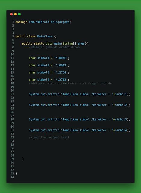 Contoh Code Menampilkan Karakter Spesial Khusus Unicode Java