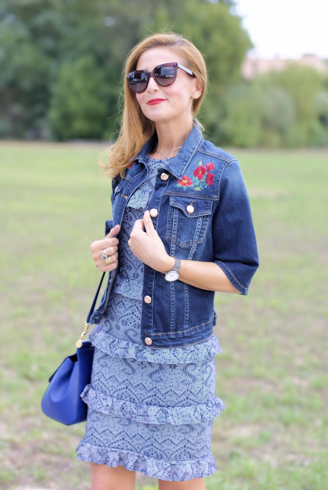 embroidered denim jacket with half sleeves on Fashion and Cookies fashion blog, fashion blogger style