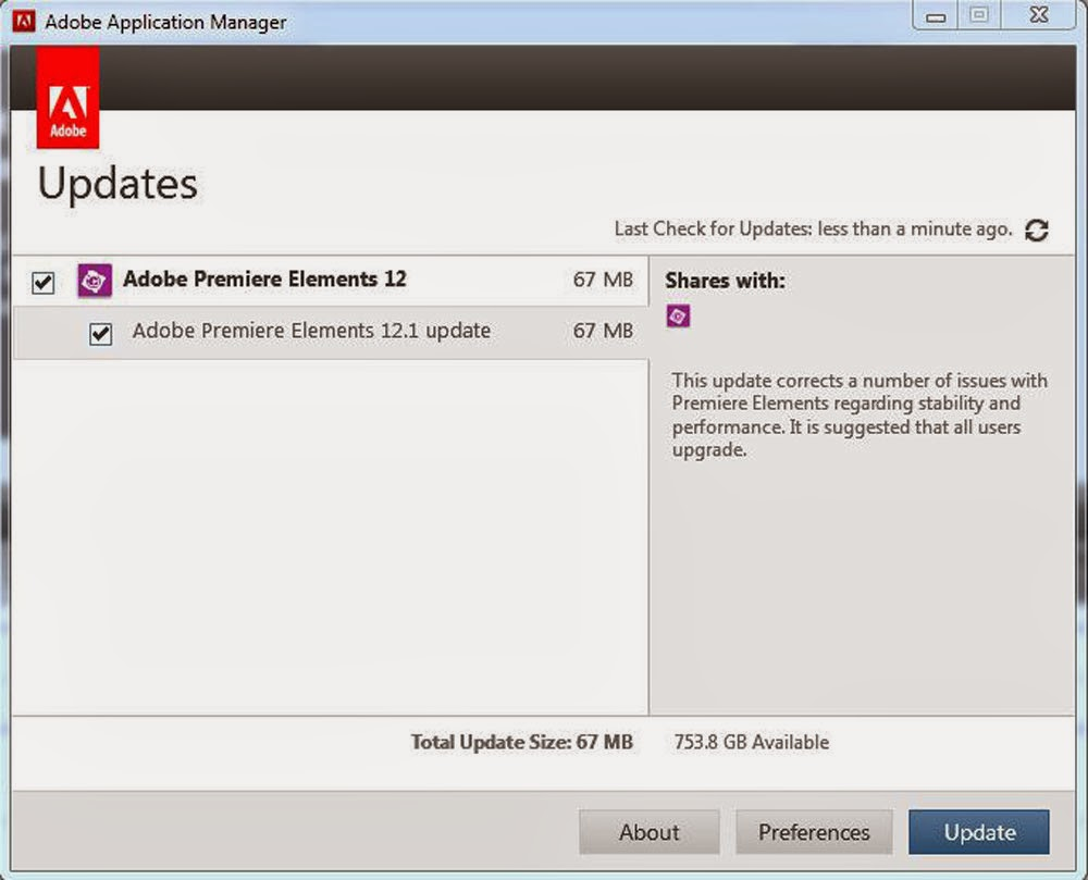 ATR Premiere Elements Troubleshooting: PE12: 12 1 Update Released
