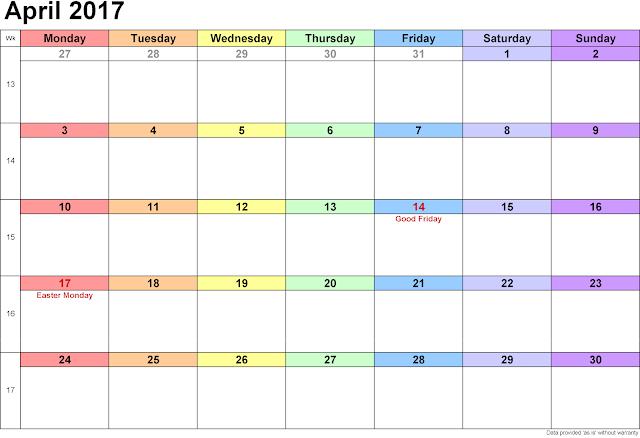 April 2017 Calendar Printable | Blank Templates