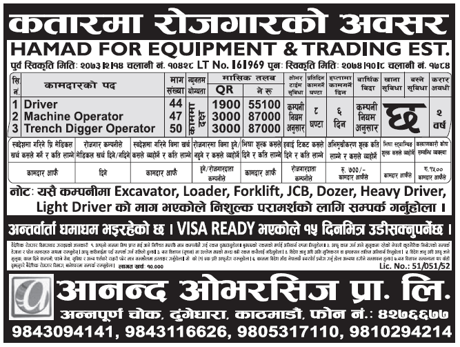 Jobs in Qatar for Nepali, Salary Rs 87,000