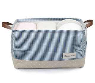 navy stripe fabric tote
