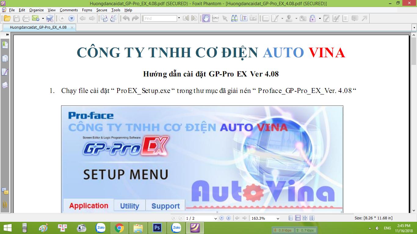 Tài liệu hướng dẫn cài đặt phần mềm GP-Pro EX Ver 4.08