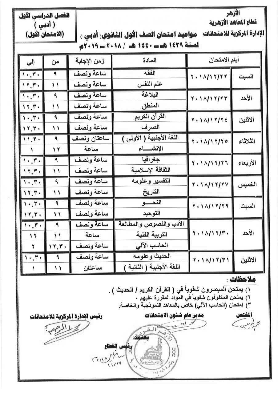 جدول إمتحانات الصف الأول الثانوي الأزهري أدبي الترم الأول 2019