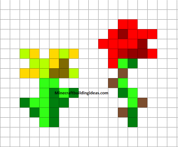 Minecraft Pixel Art Templates Minecraft Flowers