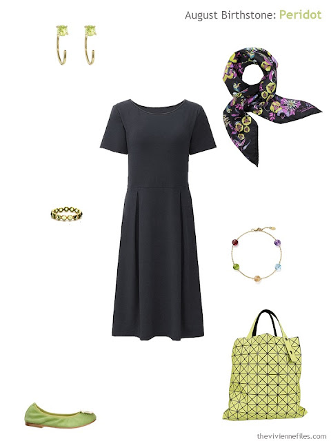 black dress with peridot accessories