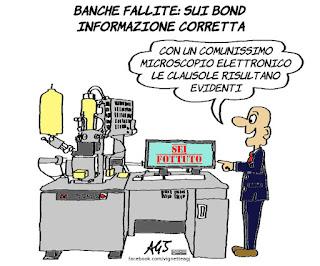 banche, obbligazioni, risparmio, clausole, prospetto informativo, vignetta, satira